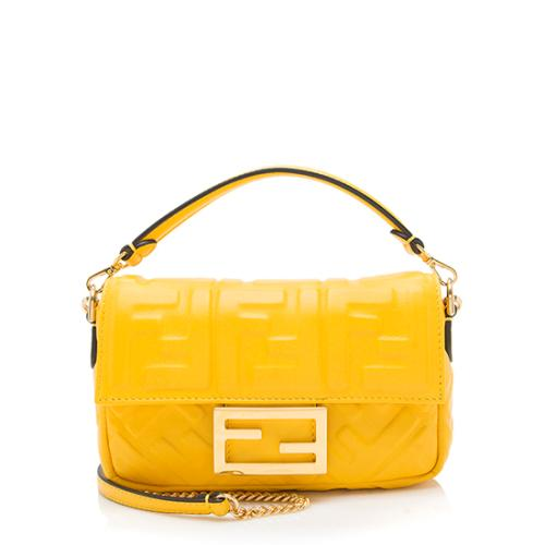 Fendi FF Embossed Leather Baguette Shoulder Bag