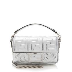 Fendi FF Embossed Metallic Leather Baguette Shoulder Bag