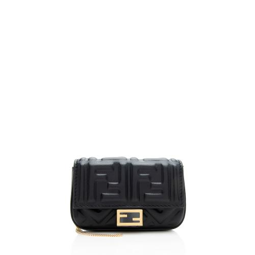Fendi FF Embossed Nano Baguette Charm Crossbody Bag