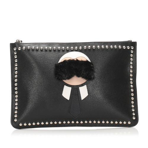 Fendi Karlito Leather Clutch Bag