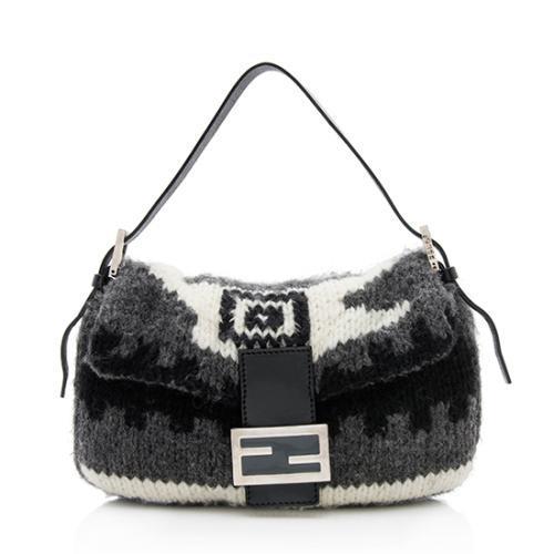Fendi Knit Wool Baguette Shoulder Bag