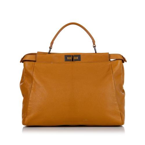 Fendi Large Peekaboo Leather Satchel