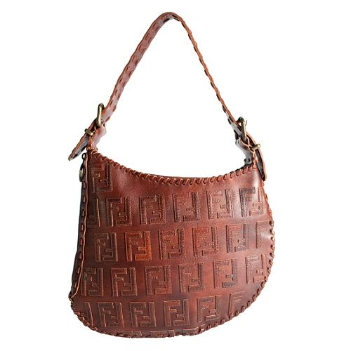 Fendi Leather Applique Oyster Hobo Handbag