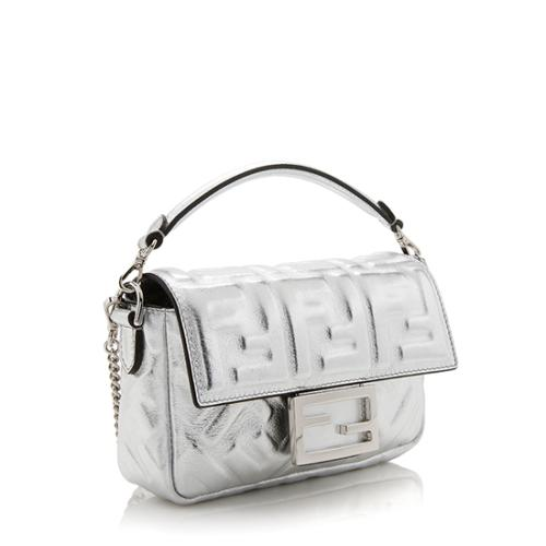 Fendi FF Embossed Metallic Leather Baguette Shoulder Bag