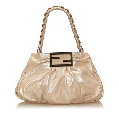 Fendi Metallic Leather Mia Small Tote
