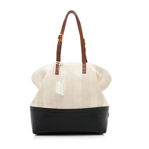 Fendi Leather Canvas Straw Colorblock 2Bag Tote