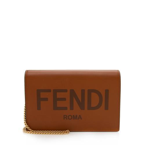 Fendi Leather Embossed Medium Wallet on Chain