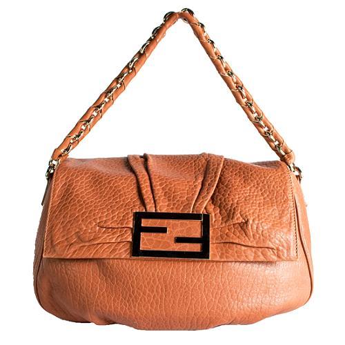 Fendi Leather Marshmallow Flap Shoulder Handbag