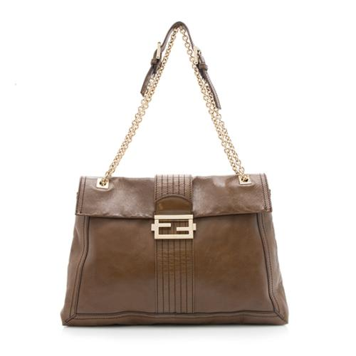 Fendi Leather Maxi Baguette Shoulder Bag