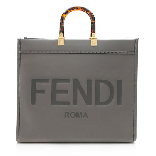 Fendi Leather Sunshine Large Shopper Tote