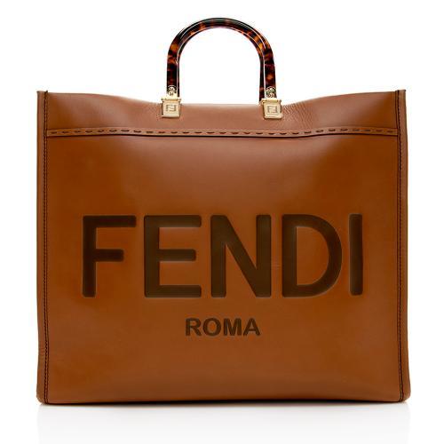 Fendi Leather Sunshine Large Shopper Tote