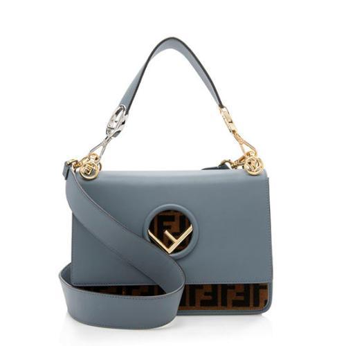 Fendi Leather Velvet Zucca Medium Kan I Shoulder Bag