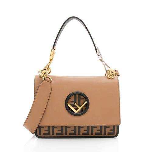 Fendi Leather Zucca Medium Kan I Shoulder Bag