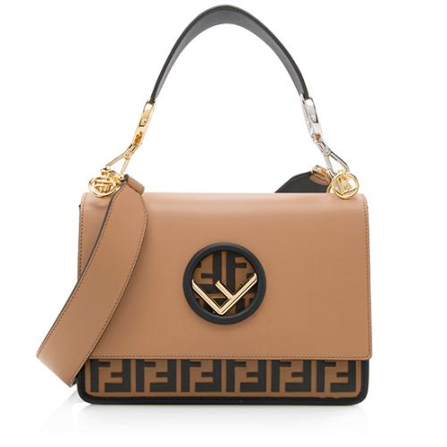 Fendi Leather Zucca Medium Kan I Shoulder Bag