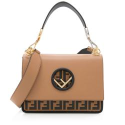 Fendi Leather Zucca Kan I Medium Shoulder Bag