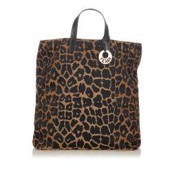 Fendi Leopard Print Canvas Handbag