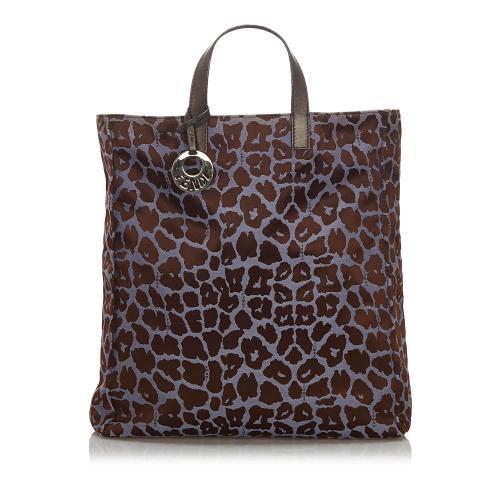 Fendi Leopard Print Nylon Tote