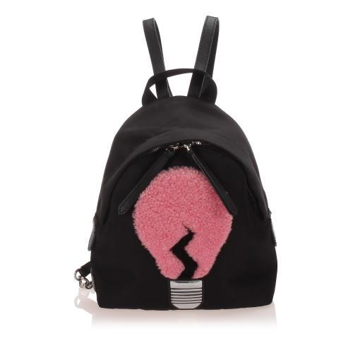 Fendi Shearling Nylon Light Bulb Backpack