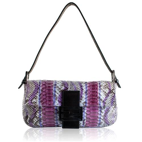 Fendi Limited Edition Painted Python Baguette Handbag