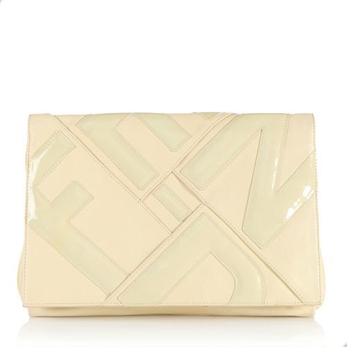 fendi leather love letter clutch