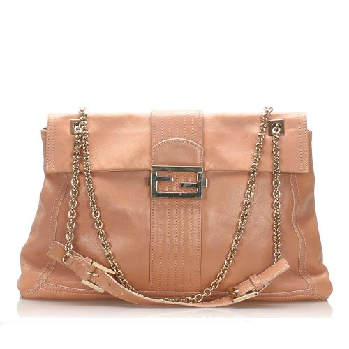 Fendi Maxi Baguette Leather Flap Bag