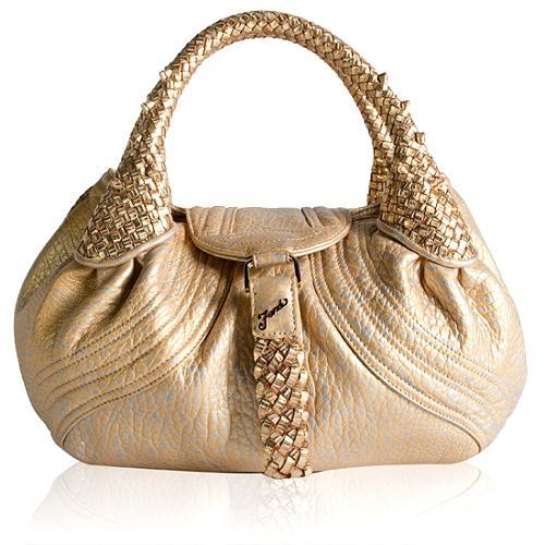 Fendi Metallic Leather Baby Spy Satchel Handbag