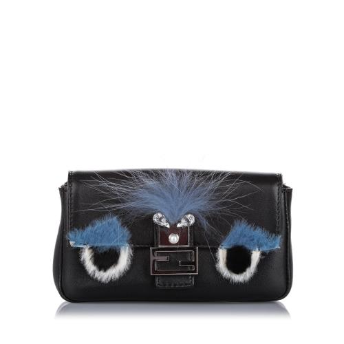 Fendi Leather Micro Monster Baguette Shoulder Bag