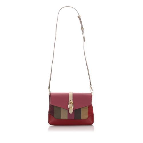 Fendi Mini Pequin Canvas Crossbody Bag