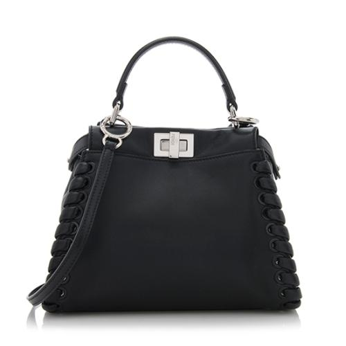 Fendi Nappa Leather Whipstitch Peekaboo Mini Shoulder Bag