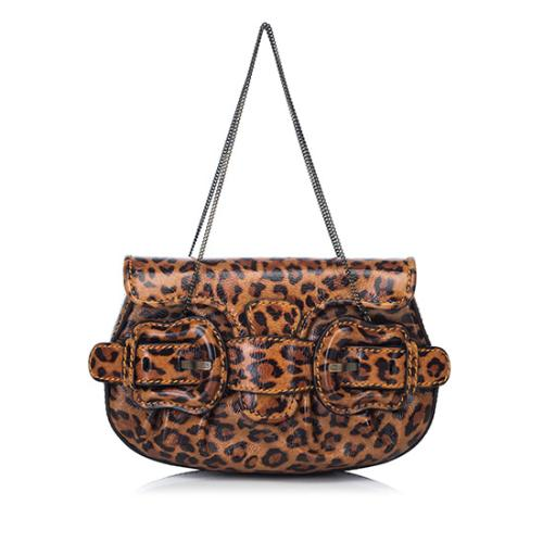 Fendi Patent Leather Leopard Mini B Bag