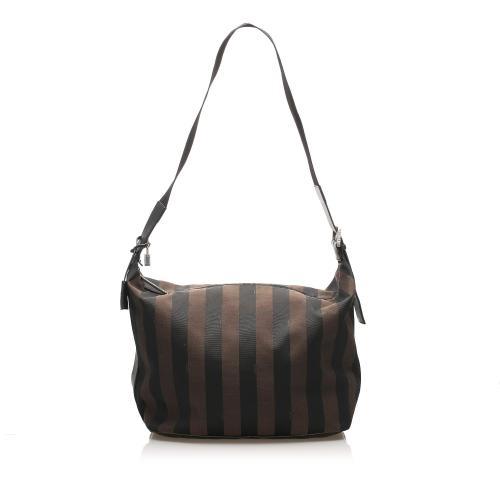 Fendi Pequin Canvas Shoulder Bag