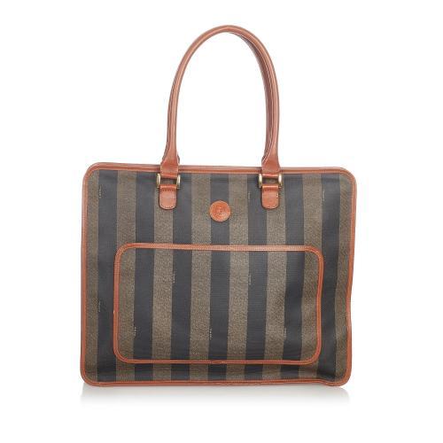 Fendi Pequin Canvas Tote Bag