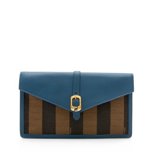 Fendi Pequin Leather Bustina Clutch