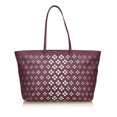 ca46ededb142 Fendi Perforated Zucca Medium Roll Tote