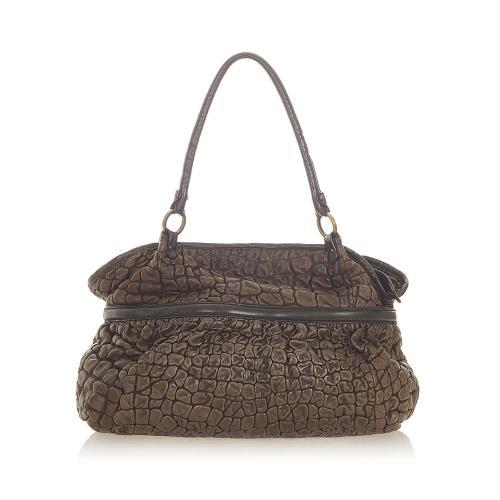 Fendi Puckered Bubble Leather Chef Shoulder Bag
