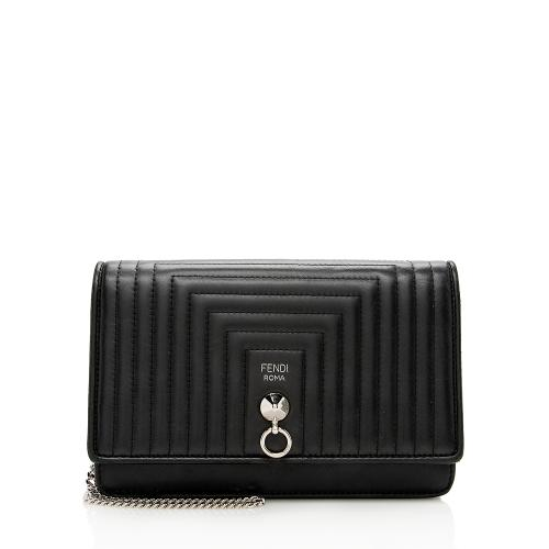 Fendi Quilted Leather Dotcom Wallet on Chain