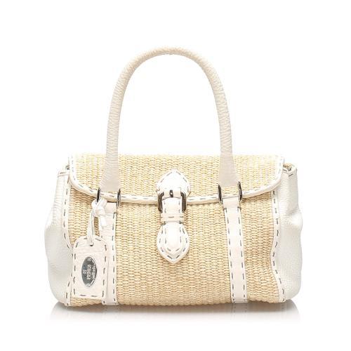 Fendi Selleria Linda Straw Handbag