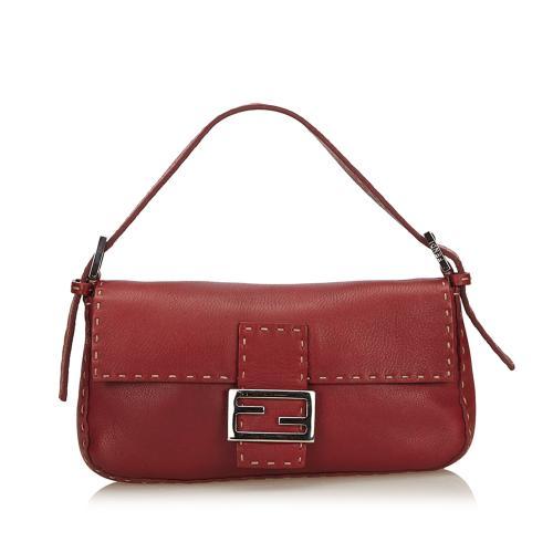 Fendi Selleria Leather Baguette Shoulder Bag