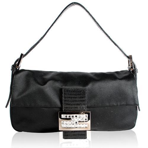 Fendi Shantung Satin Crystal Baguette Shoulder Handbag