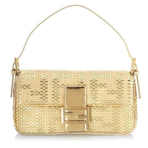Fendi Small Leather Zucca Woven Flap Handbag