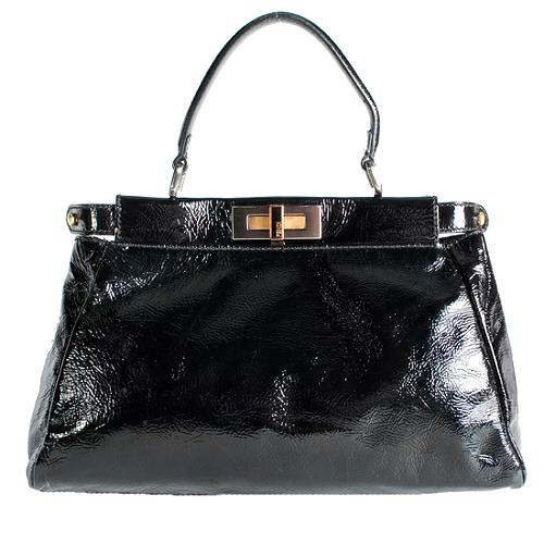 Fendi Patent Leather Peekaboo Small Satchel