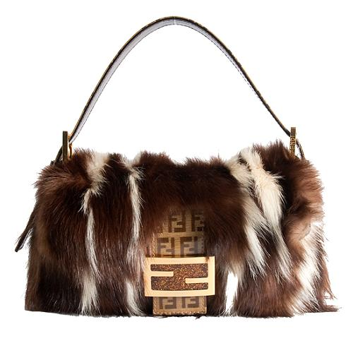 Fendi Striped Skunk Fur Baguette Shoulder Handbag