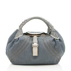 Fendi Ticking Stripe Denim Spy Satchel