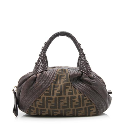 Fendi Tortuga Leather Zucca Spy Baby Satchel