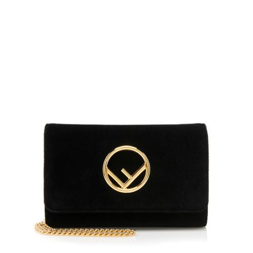 Fendi Velvet Clutch On Chain Crossbody Bag