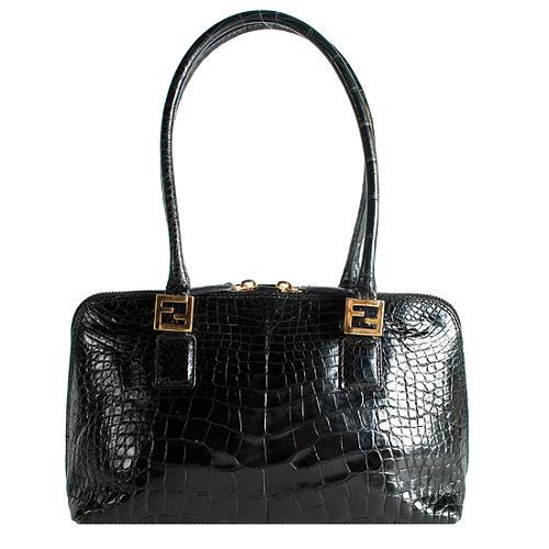 Fendi Vintage Alligator Medium Satchel Handbag