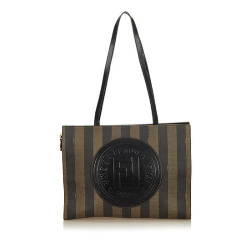 Fendi Vintage Leather Pequin Logo Tote