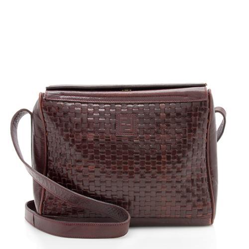 Fendi Vintage Woven Leather Shoulder Bag