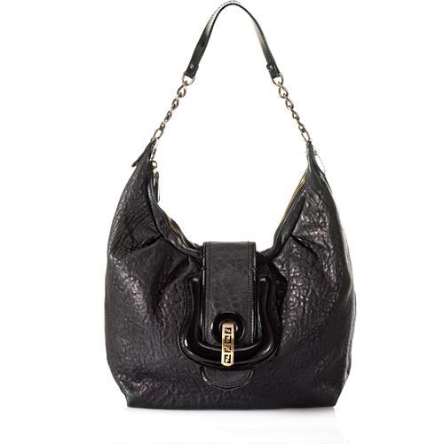 Fendi Wrinkled Leather B Bag Hobo Handbag