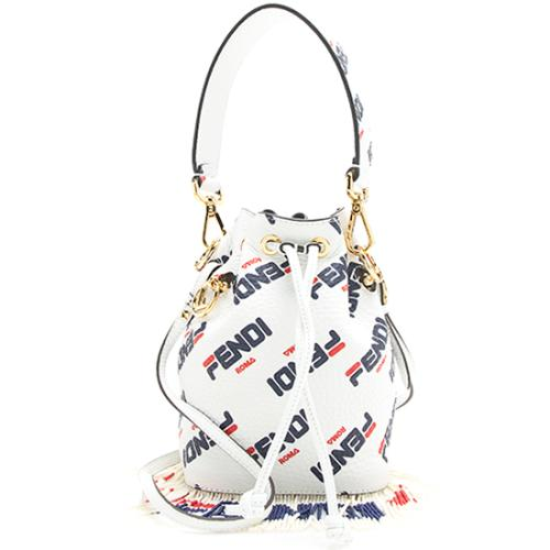 Fendi X Fila Logo Calfskin Beaded Fringe Mon Tresor Mini Bucket Bag
